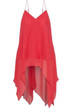 HAUTE HIPPIE Asymmetric draped silk-chiffon top