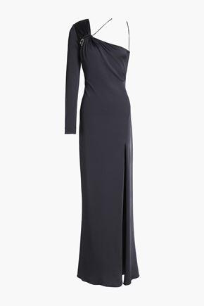 CUSHNIE ET OCHS Leonora one-shoulder ruched satin-jersey gown