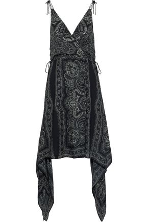 HAUTE HIPPIE Asymmetric wrap-effect printed silk-chiffon dress