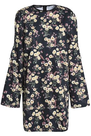 MOTHER OF PEARL Velvet-trimmed floral-print cotton mini dress