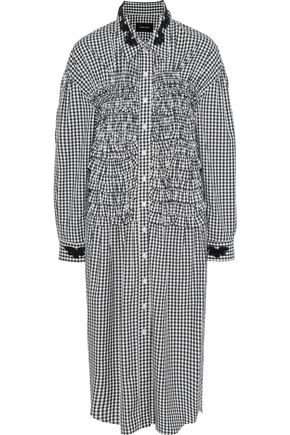 SIMONE ROCHA Bead-embellished ruffled gingham cotton midi dress
