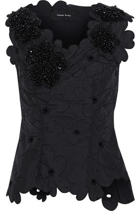 SIMONE ROCHA Bead-embellished cutout embroidered shell top