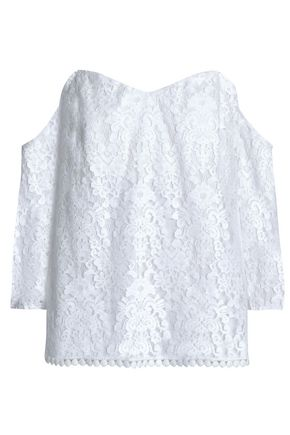 BAILEY 44 Off-the-shoulder cotton-blend lace top