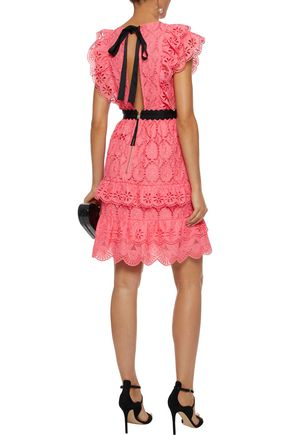PERSEVERANCE Ruffle-trimmed embroidered cotton dress