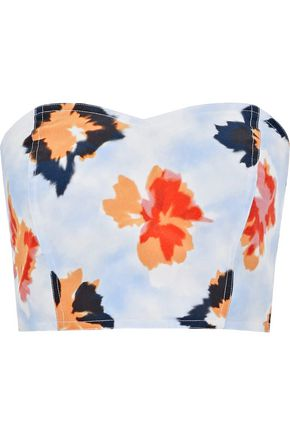 OPENING CEREMONY Reversible strapless floral-print silk bustier top