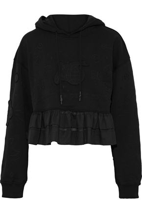 OPENING CEREMONY Ruffle-trimmed French cotton-terry hooded sweatshirt