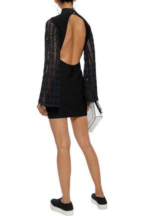 OPENING CEREMONY Open-back crochet-paneled stretch-knit mini dress