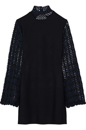 OPENING CEREMONY Open-back crochet-paneled stretch-knit mini dress