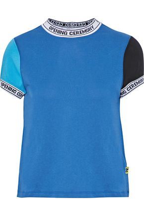 OPENING CEREMONY Intarsia-trimmed color-block cotton-jersey T-shirt