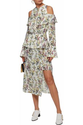 MOTHER OF PEARL Cold-shoulder ruffled floral-print silk-georgette midi dress