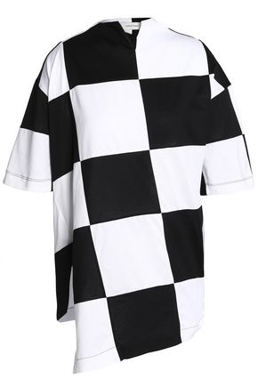 MARQUES' ALMEIDA Oversized checked cotton-jersey top