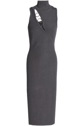 CUSHNIE ET OCHS Ring-embellished cutout ribbed-knit midi dress