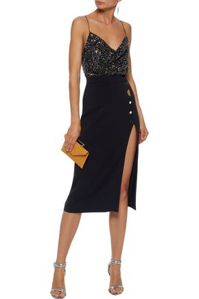 CUSHNIE Lenora embellished silk bodysuit