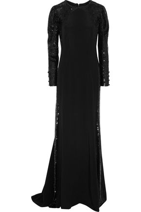CAROLINA HERRERA Sequin-embellished silk gown
