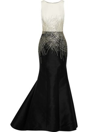 CAROLINA HERRERA Embellished faille-paneled cotton and silk-blend gown