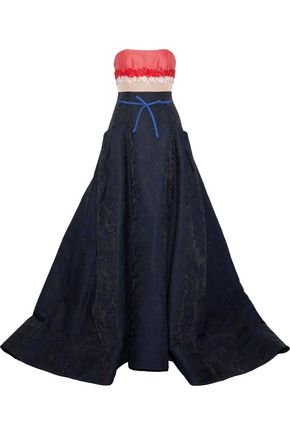 CAROLINA HERRERA Strapless floral-appliquéd woven, faille and jacquard gown