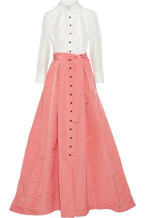 CAROLINA HERRERA Flared pleated silk-taffeta and faille gown
