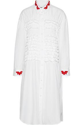 SIMONE ROCHA Bead-embellished ruffled cotton-poplin shirt dress