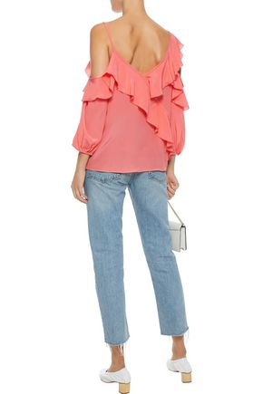 BAILEY 44 Unforgettable cold-shoulder ruffled silk crepe de chine top