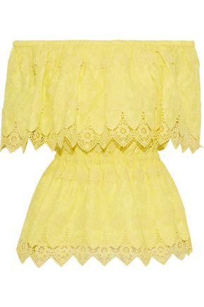 PERSEVERANCE Off-the-shoulder crochet-trimmed embroidered cotton top