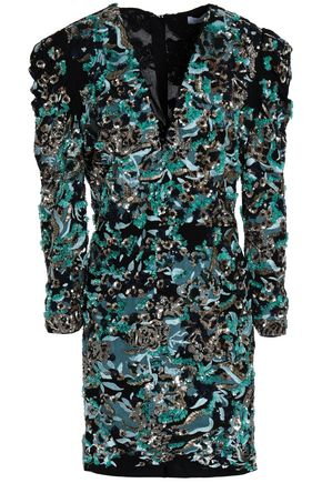 ZUHAIR MURAD Embellished embroidered crepe mini wrap dress