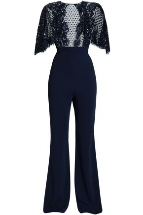 ZUHAIR MURAD Lace-trimmed embellished tulle and silk-crepe jumpsuit