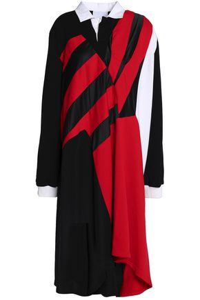 KOCHÉ Paneled cotton-jersey, satin and velvet dress