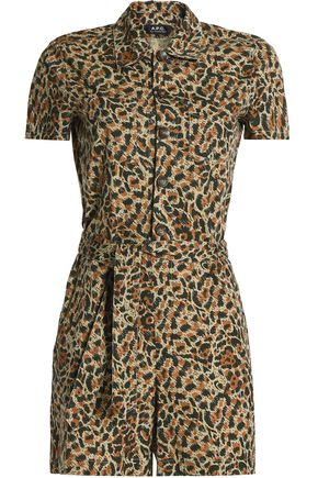 A.P.C. Leopard-print cotton-poplin playsuit