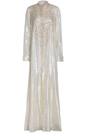 CAROLINA HERRERA Sequined silk-blend lamé gown