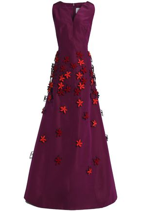 CAROLINA HERRERA Flared embellished silk-faille gown