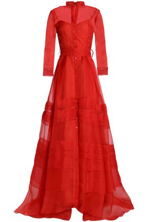 CAROLINA HERRERA Belted pleated silk-organza gown