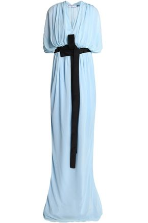 VIONNET Draped satin-trimmed crepe gown