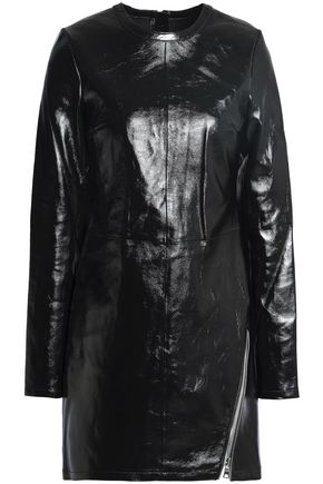 RTA Zip-detailed leather mini dress