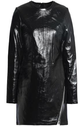RTA Zip-detailed leather mini dress