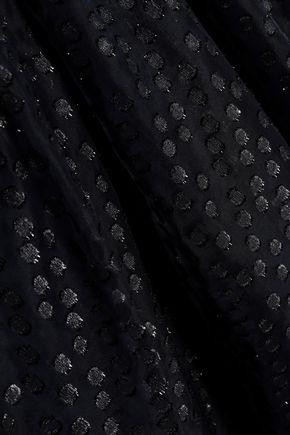 CAROLINA HERRERA Open-back metallic fil coupé midi dress