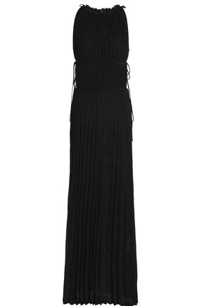M MISSONI Pleated metallic crochet-knit gown