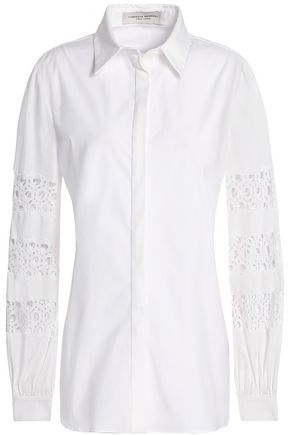 CAROLINA HERRERA Guipure lace-trimmed cotton-blend poplin shirt