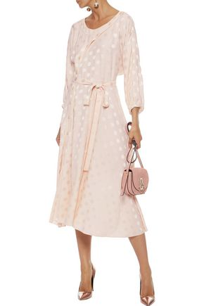 NINA RICCI Belted polka-dot silk-jacquard midi dress 2223fbada