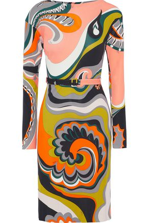 EMILIO PUCCI Belted printed jersey dress