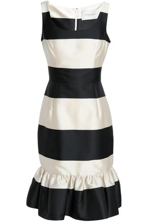 CAROLINA HERRERA Ruffle-trimmed striped faille dress
