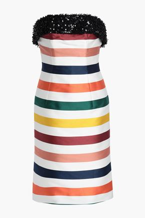 CAROLINA HERRERA Sequin-trimmed striped cotton and silk-blend satin dress