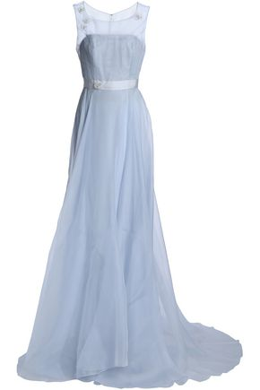 CAROLINA HERRERA Grosgrain-trimmed flared organza gown