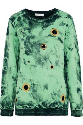 PIERRE BALMAIN Eyelet-embellished bleached French cotton-terry sweatshirt
