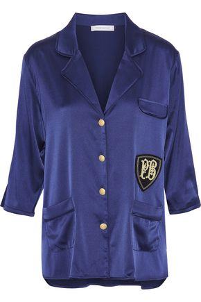 PIERRE BALMAIN Appliquéd silk-blend satin shirt