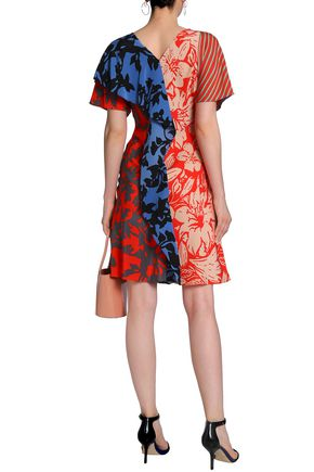 DIANE VON FURSTENBERG Paneled printed silk crepe de chine dress