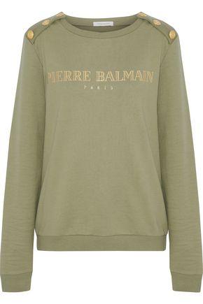PIERRE BALMAIN Button-detailed printed French cotton-terry sweatshirt