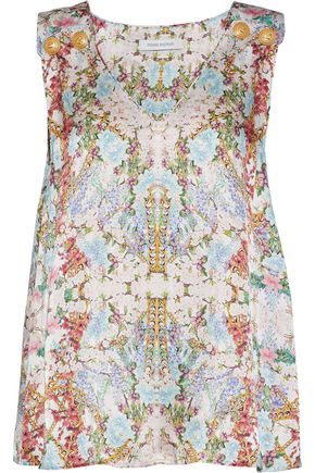 PIERRE BALMAIN Button-detailed floral-print hammered-silk top