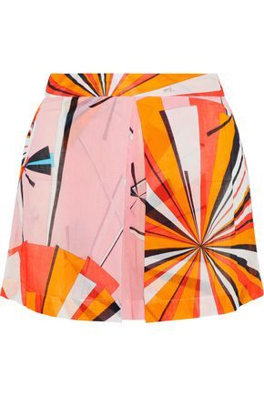 EMILIO PUCCI Pleated printed cotton-mousseline shorts