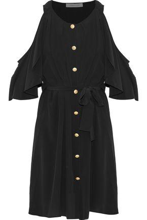 PIERRE BALMAIN Cold-shoulder button-detailed ruffled washed-silk dress