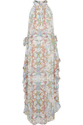 PIERRE BALMAIN Ruffled printed silk crepe de chine midi dress